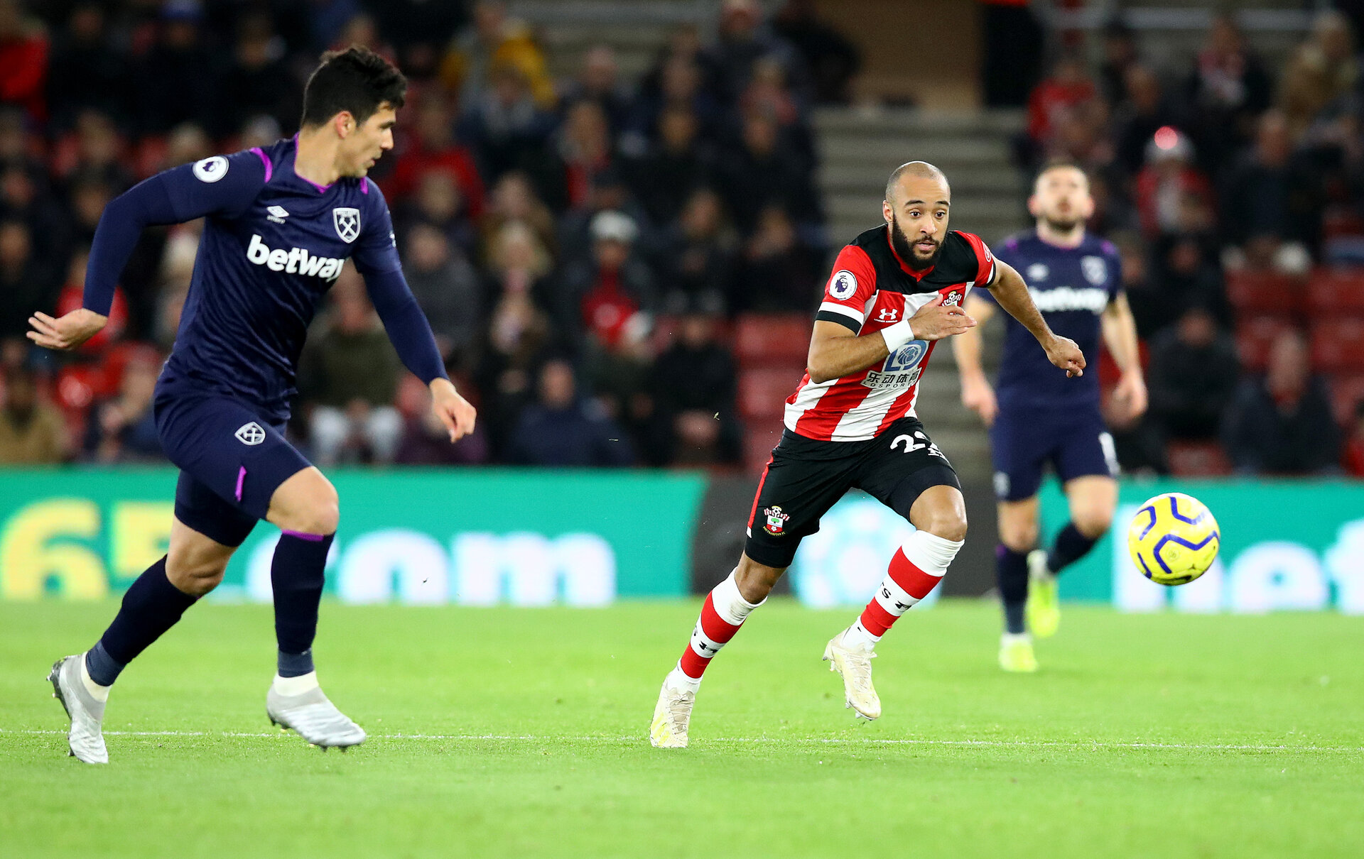 SOUTHAMPTON, ENGLAND - DECEMBER 14: Nathan Redmond of Southampton during the Premier League match between Southampton FC and West Ham United at St Mary's Stadium on December 14, 2019 in Southampton, United Kingdom. (Photo by Matt Watson/Southampton FC via Getty Images)