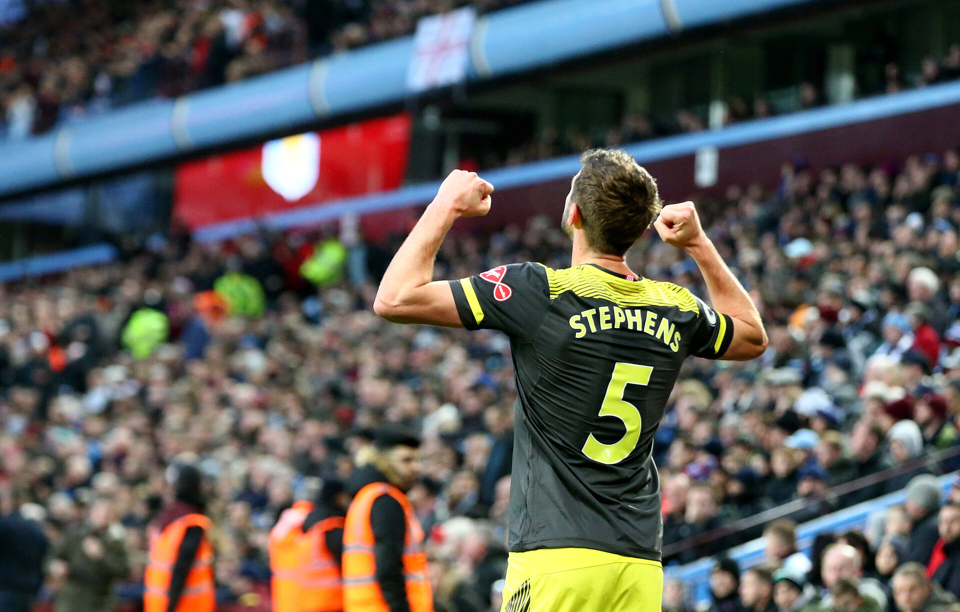 BIRMINGHAM, ENGLAND - DECEMBER 21: Jack Stephens of Southampton celebrates after scoring his teams second during the Premier League match between Aston Villa and Southampton FC at Villa Park on December 21, 2019 in Birmingham, United Kingdom. (Photo by Matt Watson/Southampton FC via Getty Images)