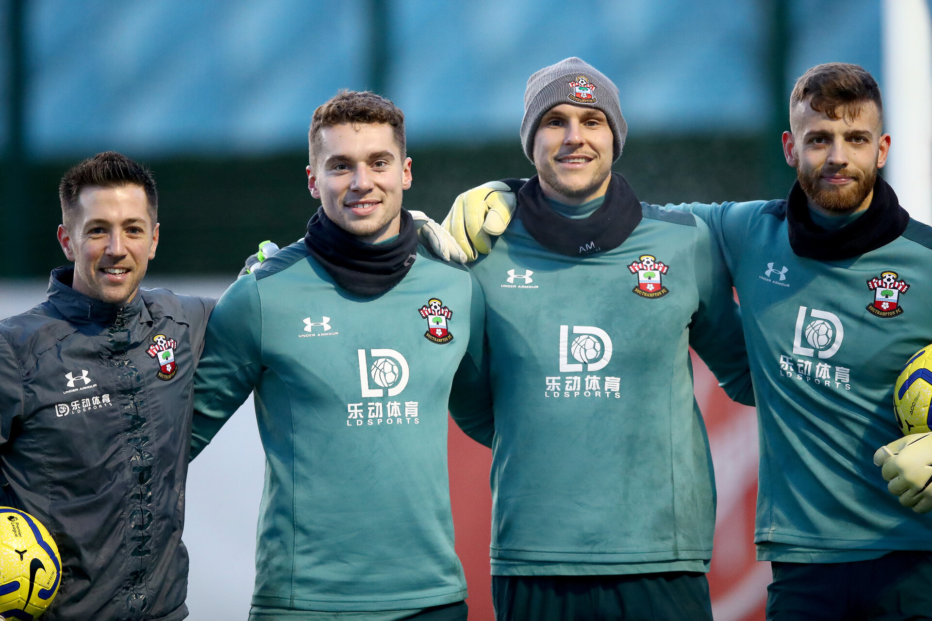 SOUTHAMPTON, ENGLAND - DECEMBER 25: L to R Andrew Sparkes, Harry Lewis, Alex McCarthy and Angus Gunn during a Christmas day training session at the Staplewood Campus on December 25, 2019 in Southampton, England. (Photo by Matt Watson/Southampton FC via Getty Images)