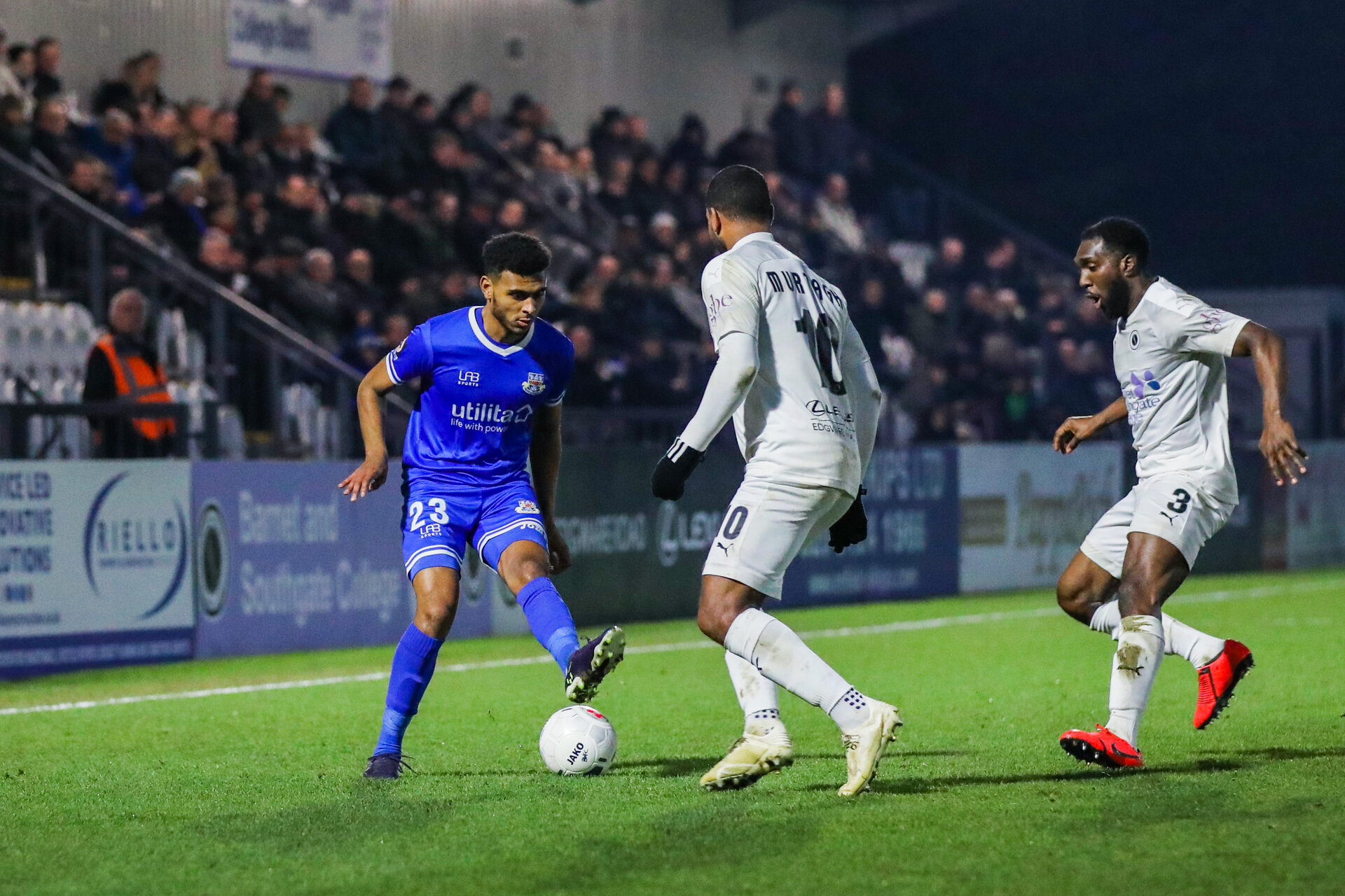 BOREHAMWOOD, ENGLAND - DECEMBER 28: Marcus Barnes of Eastleigh FC in possession during the Vanarama National League match between Boreham Wood and Eastleigh FC at the Meadow Park on December 28, 2019 in Borehamwood, England