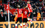 SOUTHAMPTON, ENGLAND - JANUARY 01: Moussa Djenepo (L), Danny Ings and Nathan Redmond(R) celebration during the Premier League match between Southampton FC and Tottenham Hotspur at St Mary's Stadium on January 1, 2020 in Southampton, United Kingdom. (Photo by Isabelle Field/Southampton FC via Getty Images)
