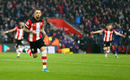 SOUTHAMPTON, ENGLAND - JANUARY 01: Danny Ings of Southampton celebrates after opening the scoring during the Premier League match between Southampton FC and Tottenham Hotspur at St Mary's Stadium on January 01, 2020 in Southampton, United Kingdom. (Photo by Matt Watson/Southampton FC via Getty Images)