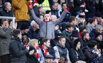 SOUTHAMPTON, ENGLAND - JANUARY 01: Saints fans during the Premier League match between Southampton FC and Tottenham Hotspur at St Mary's Stadium on January 1, 2020 in Southampton, United Kingdom. (Photo by Chris Moorhouse/Southampton FC via Getty Images)