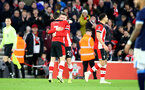 SOUTHAMPTON, ENGLAND - JANUARY 04: Will Smallbone(R) of Southampton celebrates with Shane Long after scoring during the FA Cup Third Round match between Southampton FC and Huddersfield Town at St. Mary's Stadium on January 04, 2020 in Southampton, England. (Photo by Matt Watson/Getty Images)