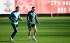 SOUTHAMPTON, ENGLAND - JANUARY 09: Jan Bednarek(L) nd Pierre-Emile Hojbjerg during a Southampton FC training session at the Staplewood Campus on January 09, 2020 in Southampton, England. (Photo by Matt Watson/Southampton FC via Getty Images)