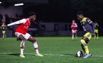 BOREHAMWOOD, ENGLAND - JANUARY 09: Kazeem Olaigbe of Southampton FC takes in his opponent during the FA Youth Cup Fourth Round match between Arsenal U18s and Southampton FC U18s at Meadow Park on January 09, 2020 in Borehamwood, England