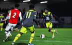 BOREHAMWOOD, ENGLAND - JANUARY 09: Alex Jankewitz of Southampton FC in possession during the FA Youth Cup Fourth Round match between Arsenal U18s and Southampton FC U18s at Meadow Park on January 09, 2020 in Borehamwood, England