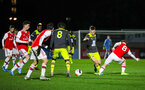BOREHAMWOOD, ENGLAND - JANUARY 09: Seamas Keogh of Southampton FC in possession during the FA Youth Cup Fourth Round match between Arsenal U18s and Southampton FC U18s at Meadow Park on January 09, 2020 in Borehamwood, England