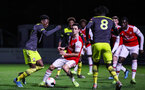 BOREHAMWOOD, ENGLAND - JANUARY 09: Kazeem Olaigbe of Southampton FC in possession during the FA Youth Cup Fourth Round match between Arsenal U18s and Southampton FC U18s at Meadow Park on January 09, 2020 in Borehamwood, England