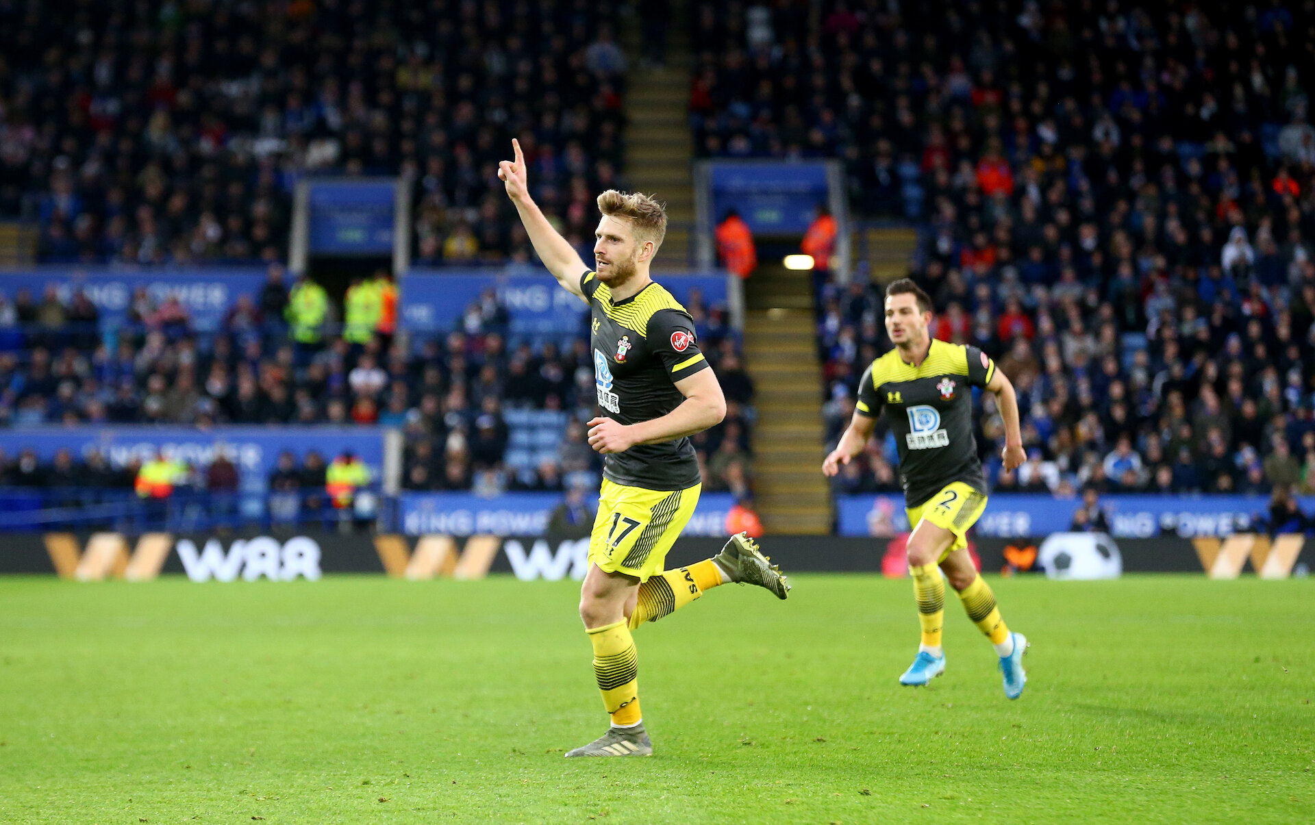 LEICESTER, ENGLAND - JANUARY 11: Stuart Armstrong of Southampton celebrates his goal during the Premier League match between Leicester City and Southampton FC at The King Power Stadium on January 11, 2020 in Leicester, United Kingdom. (Photo by Matt Watson/Southampton FC via Getty Images)