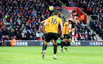 SOUTHAMPTON, ENGLAND - JANUARY 18: Shane Long(R) of Southampton heads at goal during the Premier League match between Southampton FC and Wolverhampton Wanderers at St Mary's Stadium on January 18, 2020 in Southampton, United Kingdom. (Photo by Matt Watson/Southampton FC via Getty Images)