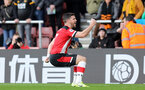 SOUTHAMPTON, ENGLAND - JANUARY 18: Shane Long's goal celebration during the Premier League match between Southampton FC and Wolverhampton Wanderers at St Marys Stadium on January 18, 2020 in Southampton, United Kingdom. (Photo by Chris Moorhouse/Southampton FC via Getty Images)