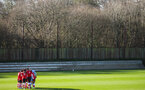 SOUTHAMPTON, ENGLAND - JANUARY 18: Southampton FC players huddle during the Barclays Under 18 Premier League match between Southampton FC and Arsenal FC at the Staplewood Campus on January 18, 2020 in Southampton, England