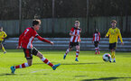 SOUTHAMPTON, ENGLAND - JANUARY 18: Marco Rus of Southampton FC has a shot during the Barclays Under 18 Premier League match between Southampton FC and Arsenal FC at the Staplewood Campus on January 18, 2020 in Southampton, England