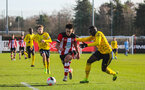 SOUTHAMPTON, ENGLAND - JANUARY 18: Mikey Saunders of Southampton FC during the Barclays Under 18 Premier League match between Southampton FC and Arsenal FC at the Staplewood Campus on January 18, 2020 in Southampton, England