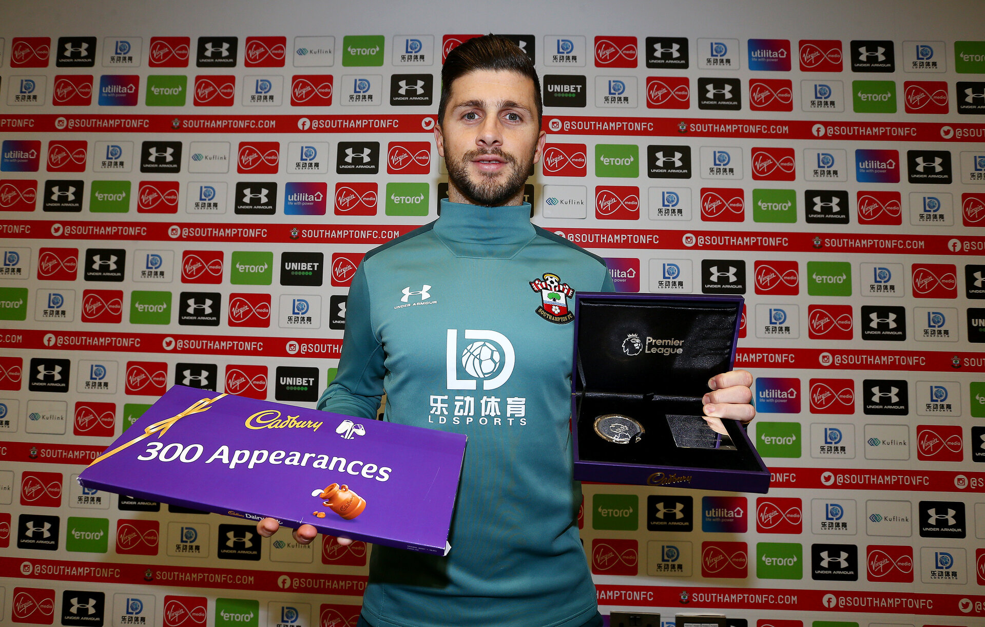 SOUTHAMPTON, ENGLAND - JANUARY 23: Shane Long of Southampton receives an award to make 300 Premier League appearances, pictured at the Staplewood Campus on January 23, 2020 in Southampton, England. (Photo by Matt Watson/Southampton FC via Getty Images)