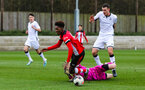 SOUTHAMPTON, ENGLAND - JANUARY 23: Ramello Mitchell of Southampton FC wins a penalty during the Barclays Under 18 Premier League match between Southampton FC and Swansea City at the Staplewood Campus on January 23, 2020 in Southampton, England