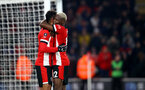 SOUTHAMPTON, ENGLAND - JANUARY 25: Sofiane Boufal(L) celebrtes with Moussa Djenepo(R) after scoring during the FA Cup Fourth Round match between Southampton FC and Tottenham Hotspur at St. Mary's Stadium on January 25, 2020 in Southampton, England. (Photo by Matt Watson/Southampton FC via Getty Images)