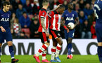 SOUTHAMPTON, ENGLAND - JANUARY 25: Danny Ings (L) and Michael Obafemi (R) during the FA Cup Fourth Round match between Southampton FC and Tottenham Hotspur at St. Mary's Stadium on January 25, 2020 in Southampton, England. (Photo by Isabelle Field/Southampton FC via Getty Images)