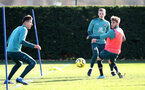 SOUTHAMPTON, ENGLAND - JANUARY 28: L to R Jan Bednarek, James Ward-Prowse and Jake Vokins during a Southampton FC training session at the Staplewood Campus on January 28, 2020 in Southampton, England. (Photo by Matt Watson/Southampton FC via Getty Images)