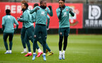 SOUTHAMPTON, ENGLAND - JANUARY 30: Michael Obafemi(L) and Kyle Walker-Peters during a Southampton FC training session at the Staplewood Campus on January 30, 2020 in Southampton, England. (Photo by Matt Watson/Southampton FC via Getty Images)