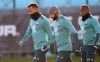 SOUTHAMPTON, ENGLAND - FEBRUARY 04: L to R Ryan Bertrand, Nathan Redmond and o61 during a Southampton FC training session at the Staplewood Campus on February 04, 2020 in Southampton, England. (Photo by Matt Watson/Southampton FC via Getty Images)
