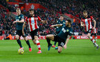SOUTHAMPTON, ENGLAND - FEBRUARY 15: Jack Stephens of Southampton in the Burnley penalty area during the Premier League match between Southampton FC and Burnley FC at St Mary's Stadium on February 15, 2020 in Southampton, United Kingdom. (Photo by Matt Watson/Southampton FC via Getty Images)