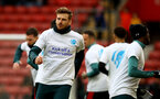 SOUTHAMPTON, ENGLAND - FEBRUARY 15: Southampton players warm up in 'Heads Up' campaign T shirts ahead of the Premier League match between Southampton FC and Burnley FC at St Mary's Stadium on February 15, 2020 in Southampton, United Kingdom. (Photo by Matt Watson/Southampton FC via Getty Images)
