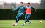 SOUTHAMPTON, ENGLAND - FEBRUARY 18: Jannik Vestergaard(L) and Ché Adams during a Southampton FC training session at the Staplewood Campus on February 18, 2020 in Southampton, England. (Photo by Matt Watson/Southampton FC via Getty Images)