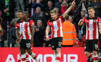 SOUTHAMPTON, ENGLAND - FEBRUARY 22: Stuart Armstrong's goal celebration during the Premier League match between Southampton FC and Aston Villa at St Mary's Stadium on February 22, 2020 in Southampton, United Kingdom. (Photo by Chris Moorhouse/Southampton FC via Getty Images)