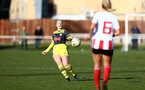 SUNDERLAND, ENGLAND - February 23: Cattlin Morris during the FAWNL semi-final at The Eppleton Colliery Welfare Ground between Sunderland and Southampton Women on February 23 2020, Sunderland, England. (Photo by Isabelle Field/Southampton FC via Getty Images)