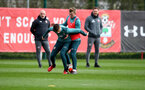 SOUTHAMPTON, ENGLAND - FEBRUARY 25: Will Smallbone(L) and James Ward-Prowse during a Southampton FC training session at the Staplewood Campus on February 25, 2020 in Southampton, England. (Photo by Matt Watson/Southampton FC via Getty Images)