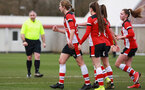 SOUTHAMPTON, ENGLAND - March 1: Shannon Albuery of Southampton FC Womens celebrates after scoring her side's fifth goal during the FA Women's National League match between Southampton Women and Maidenhead United at Staplewood Campus on March 1 2020, Exeter, England. (Photo by Tom Mulholland/Southampton FC)
