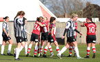 SOUTHAMPTON, ENGLAND - March 1: Southampton FC WomenÕs players celebrate after Shannon Albuery of Southampton FC Womens scores her sideÕs first goal during the FA WomenÕs National League match between Southampton Women and Maidenhead United at Staplewood Campus on March 1 2020, Exeter, England. (Photo by Tom Mulholland/Southampton FC) SOUTHAMPTON, ENGLAND - March 1: Southampton FC Women's players celebrate after Shannon Albuery of Southampton FC Womens scores her side's first goal during the FA Women's National League match between Southampton Women and Maidenhead United at Staplewood Campus on March 1 2020, Exeter, England. (Photo by Tom Mulholland/Southampton FC)