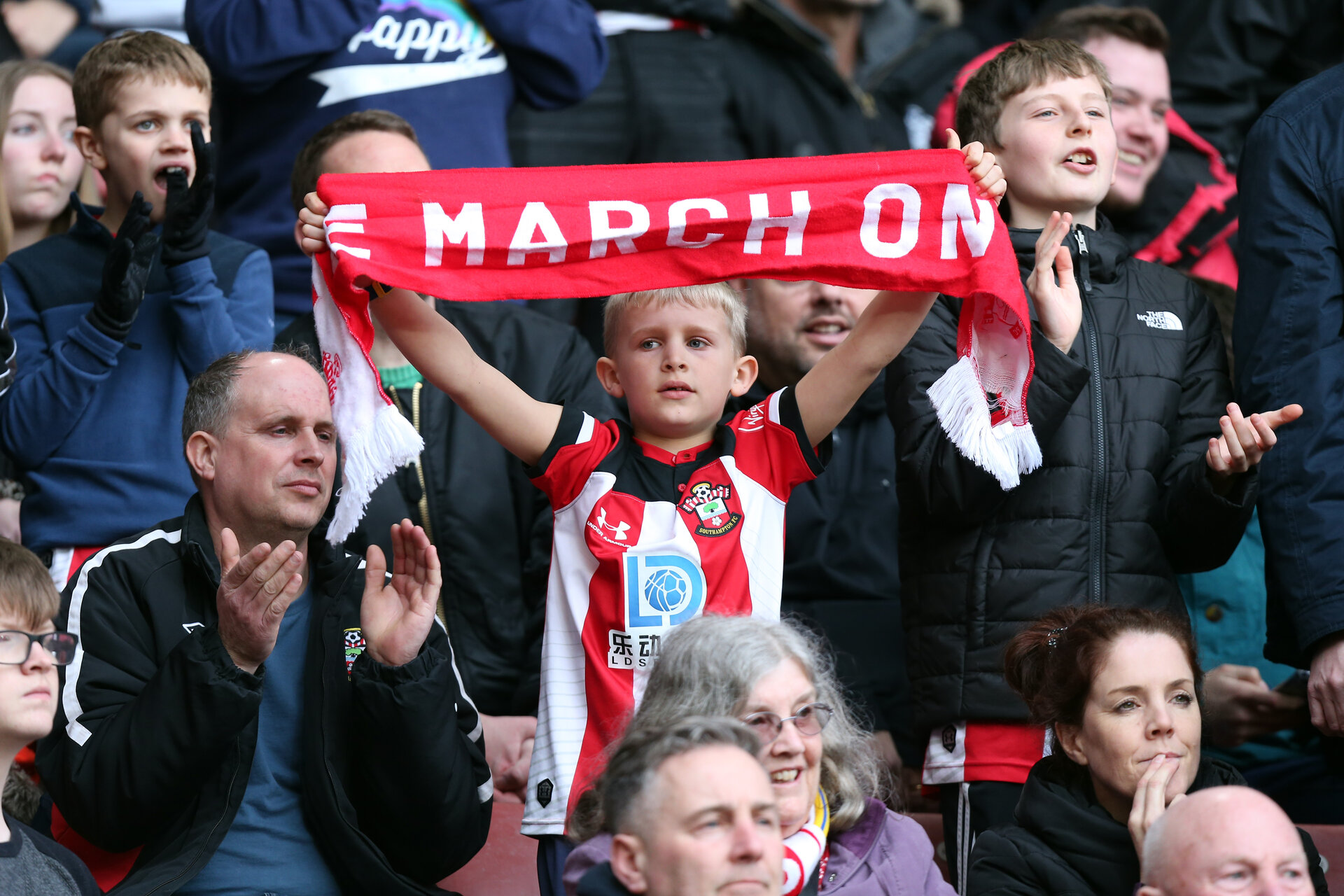 SOUTHAMPTON, ENGLAND - MARCH 07: Saints fans during the Premier League match between Southampton FC and Newcastle United at St Mary's Stadium on March 7, 2020 in Southampton, United Kingdom. (Photo by Chris Moorhouse/Southampton FC via Getty Images)