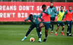 SOUTHAMPTON, ENGLAND - MARCH 11: Michael Obafemi(L) and Kevin Danso during a Southampton FC training session at the Staplewood Campus on March 11, 2020 in Southampton, England. (Photo by Matt Watson/Southampton FC via Getty Images)