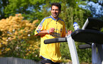 SOUTHAMPTON, ENGLAND - APRIL 26: Former Southampton FC player and current club ambassador Francis Benali, runs the distance of a marathon on a treadmill in his garden at his home, as part of the 2.6 challenge and to raise money for Saints Foundation and NHS Charities Trust, on April 26, 2020 in Southampton, England. (Photo by Matt Watson/Southampton FC via Getty Images)