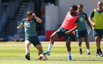 SOUTHAMPTON, ENGLAND - MAY 29: Will Ferry(L) and Sofiane Boufal during a Southampton FC training session, at the Staplewood Campus on May 29, 2020 in Southampton, England. (Photo by Matt Watson/Southampton FC via Getty Images)
