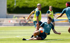 SOUTHAMPTON, ENGLAND - MAY 29: Oriol Romeu(L) and Jannik Vestergaard during a Southampton FC training session, at the Staplewood Campus on May 29, 2020 in Southampton, England. (Photo by Matt Watson/Southampton FC via Getty Images)
