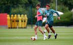 SOUTHAMPTON, ENGLAND - JUNE 09: Will Smallbone(L) and Jannik Vestergaard during a Southampton FC training session at the Staplewood Campus on June 09, 2020 in Southampton, England. (Photo by Matt Watson/Southampton FC via Getty Images)