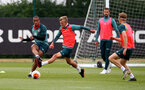 SOUTHAMPTON, ENGLAND - JUNE 09: Yan Valery(L) and James Ward-Prowse during a Southampton FC training session at the Staplewood Campus on June 09, 2020 in Southampton, England. (Photo by Matt Watson/Southampton FC via Getty Images)