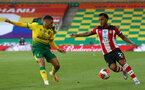 NORWICH, ENGLAND - JUNE 19: (L) JamalLewis and (R) Ryan Bertrand during the Premier League match between Norwich City and Southampton FC at Carrow Road on June 19, 2020 in Norwich, United Kingdom. (Photo by Matt Watson/Southampton FC via Getty Images)