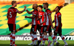NORWICH, ENGLAND - JUNE 19: team celebration during the Premier League match between Norwich City and Southampton FC at Carrow Road on June 19, 2020 in Norwich, United Kingdom. (Photo by Matt Watson/Southampton FC via Getty Images)