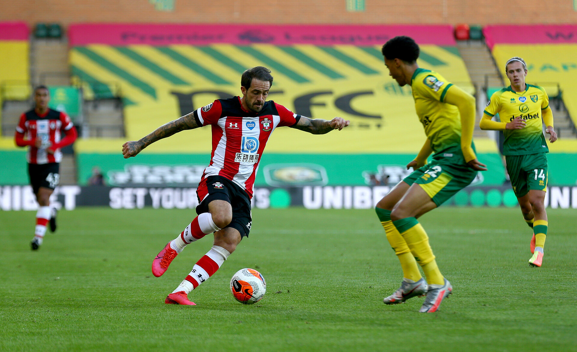 NORWICH, ENGLAND - JUNE 19: Danny Ings of Southampton during the Premier League match between Norwich City and Southampton FC at Carrow Road on June 19, 2020 in Norwich, United Kingdom. (Photo by Matt Watson/Southampton FC via Getty Images)