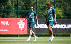 SOUTHAMPTON, ENGLAND - JUNE 22: Pierre-Emile Højbjerg(L) and Jannik Vestergaard during a Southampton FC training session, at the Staplewood Campus, on June 22, 2020 in Southampton, England. (Photo by Matt Watson/Southampton FC via Getty Images)