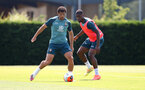 SOUTHAMPTON, ENGLAND - JUNE 23: Ché Adams(L) and Kevin Danso during a Southampton FC training session at the Staplewood Campus on June 23, 2020 in Southampton, England. (Photo by Matt Watson/Southampton FC via Getty Images)