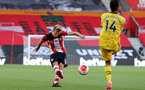 SOUTHAMPTON, ENGLAND - JUNE 25: (L) James Ward-Prowse during the Premier League match between Southampton FC and Arsenal FC at St Mary's Stadium on March 21, 2020 in Southampton, United Kingdom. (Photo by Chris Moorhouse/Southampton FC via Getty Images)