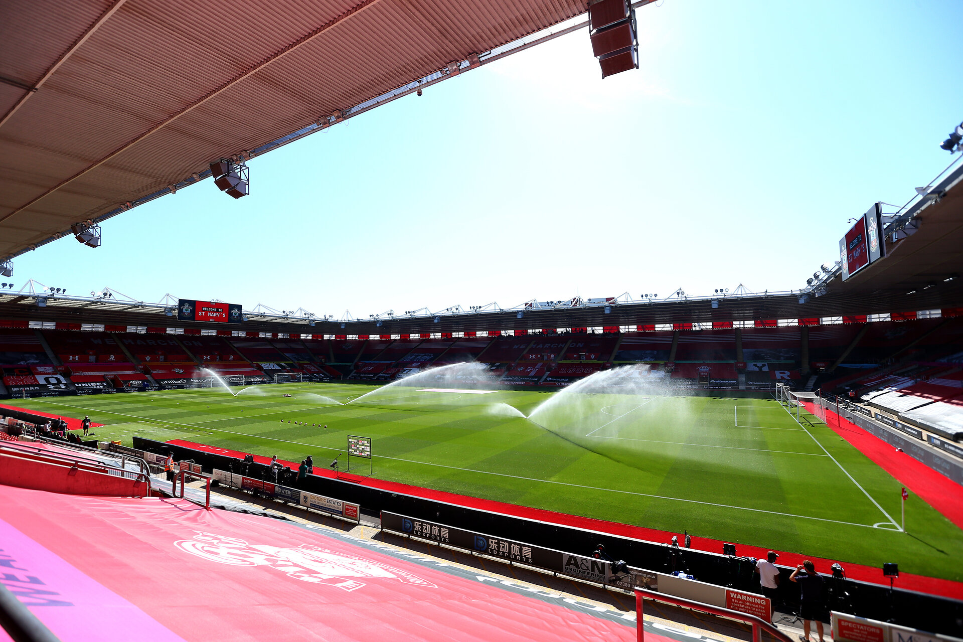 SOUTHAMPTON, ENGLAND - JUNE 25: A general view ahead of the Premier League match between Southampton FC and Arsenal FC at St Mary's Stadium on June 25, 2020 in Southampton, United Kingdom. (Photo by Matt Watson/Southampton FC via Getty Images)