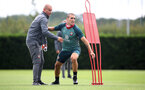 SOUTHAMPTON, ENGLAND - JULY 01: Coach Dave Watson(L) and Oriol Romeu during a Southampton FC training session at the Staplewood Campus on July 01, 2020 in Southampton, England. (Photo by Matt Watson/Southampton FC via Getty Images)