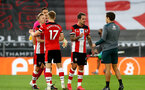 SOUTHAMPTON, ENGLAND - JULY 05: James Ward-Prowse (L), Stuart Armstrong, Danny Ings (R) during the Premier League match between Southampton FC and Manchester City at St Mary's Stadium on July 5, 2020 in Southampton, United Kingdom. Football Stadiums around Europe remain empty due to the Coronavirus Pandemic as Government social distancing laws prohibit fans inside venues resulting in games being played behind closed doors. (Photo by Matt Watson/Southampton FC via Getty Images)